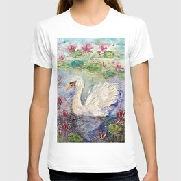 swan in lily pond T-shirt