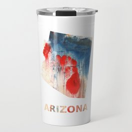 Arizona map outline Red Blue nebulous watercolor Travel Mug