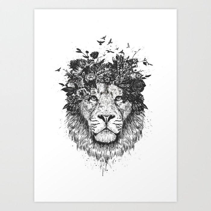 Floral Lion (b&w) Art Print By Soltib