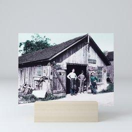 1900 - Samuel Reish (1858-1945) [Wearing Apron] and his Blacksmith Shop, Morrisonville, Illinoi Infr Mini Art Print