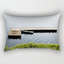 boat moored to old wood boardwalk Rectangular Pillow