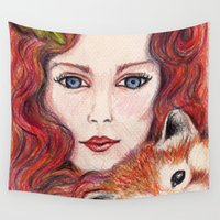 red panda Wall Tapestries featuring Red panda by Pendientera