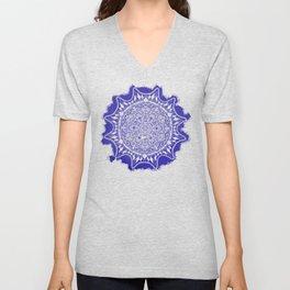Blue Mandala Pattern Unisex V-Neck