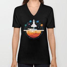Space Shuttle & Solar System Unisex V-Neck