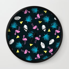 Sketchy - memphis wacka design throwback neon 1980s 80s style retro pattern grid flamingo tropical Wall Clock