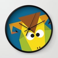 ram Wall Clocks featuring Ram by Fairytale ink