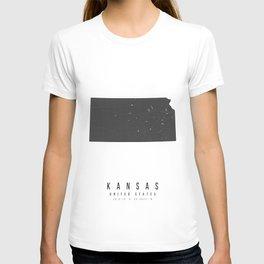 Kansas Mono Black and White Modern Minimal Street Map T-shirt