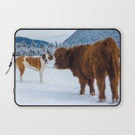 St bernard VS a Hairy cow Laptop Sleeve