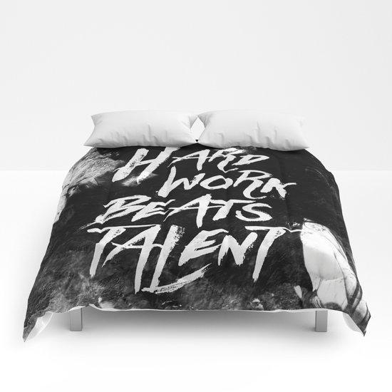 Inspirational typographic quote Hard Work Beats Talent Comforters