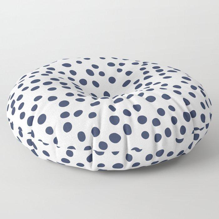 Dark blue vector doodle circle dot Floor Pillow