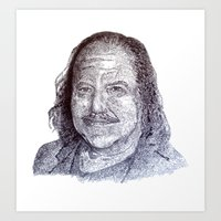 penis Art Prints featuring Ron Jeremy penis style by Florian Proust