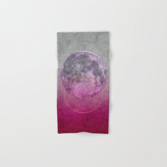 Pink Moon geometric circle mixed media Hand & Bath Towel