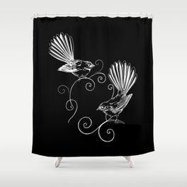 White Fantails  Shower Curtain