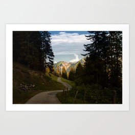 through the woods and over the mountains Art Print