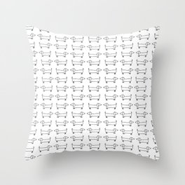 Dachshunds pattern in black and white Throw Pillow