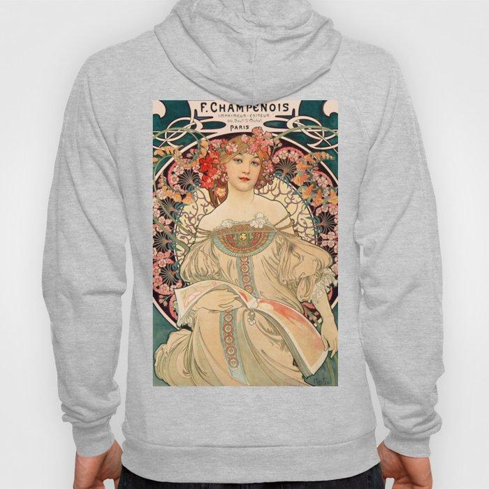 Mucha Daydream Art Nouveau Edwardian Woman Floral Portrait Hoody