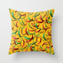 Hot Peppers Throw Pillow