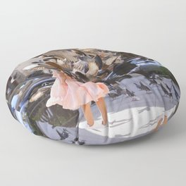 The Girl with Doves Floor Pillow