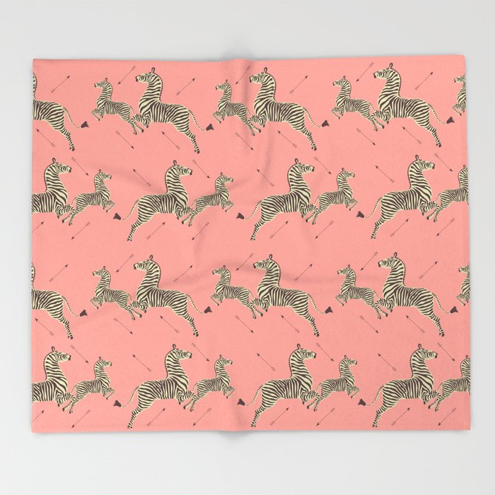 Royal Tenenbaums Zebra Wallpaper - Pink Throw Blanket