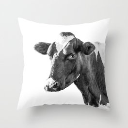 Cow Photography Animal Art   Minimalism black and white   black-and-white   Peek-a-boo Throw Pillow