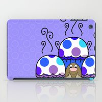 polkadot iPad Cases featuring Cute Monster With Blue And Purple Polkadot Cupcakes by Mydeas