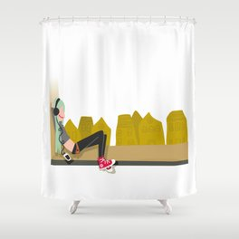 fashion hipster music illustration girl Shower Curtain