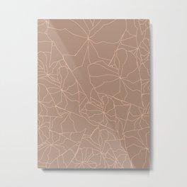 Neutral Modern Tropical Leaf Outline Illustration Metal Print