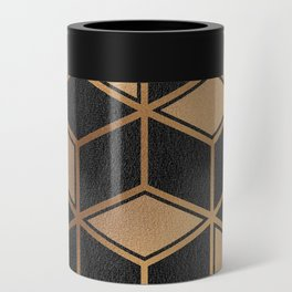 Charcoal and Gold - Geometric Textured Cube Design II Can Cooler