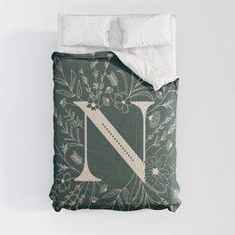 Botanical Letter N (Forest Green) Comforters