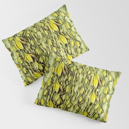 flower paradise moon shining in the floral jungle painting Pillow Sham