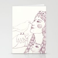 pigeon Stationery Cards featuring pigeon by Adi Yochalis