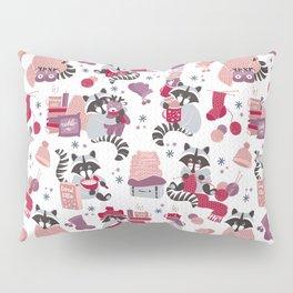 Hygge raccoon // white background Pillow Sham