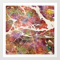 stockholm Art Prints featuring Stockholm by MapMapMaps.Watercolors