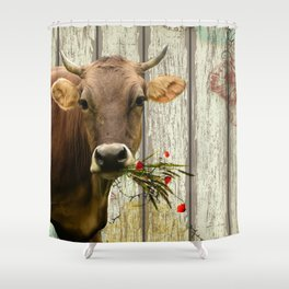 Hey Moo Shower Curtain