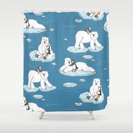 Polar Bear Loves Penguin Shower Curtain