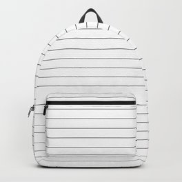White And Black Pinstripe Line Stripe Minimalist Stripes Lines Backpack