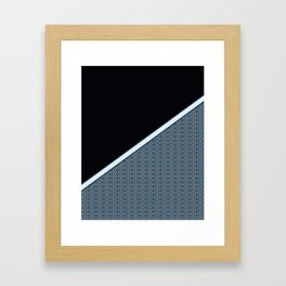 Half Dark and Half Abstract Steel Grey Geometric Striped Pattern Framed Art Print