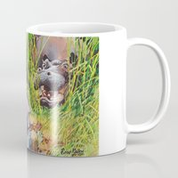 hippo Mugs featuring hippo! by Rose Rigden