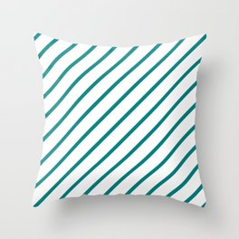Diagonal Lines (Teal/White) Throw Pillow