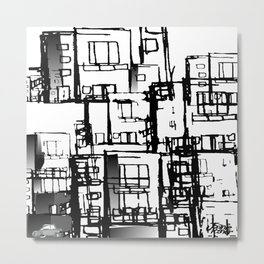 Black & Gray Fire Escapes Metal Print