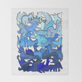 Blue Dinosaur Gradient Throw Blanket