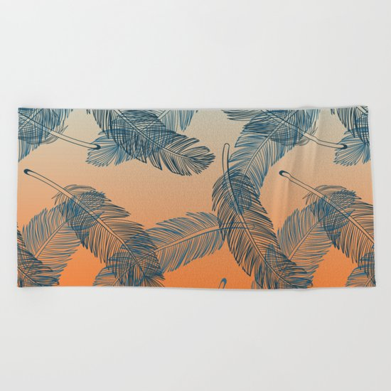 Blue Feathers Beach Towel