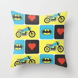 The Bike & The Bat Throw Pillow