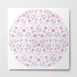Purple Peony Floral Metal Print
