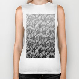 Japanese style wood carving pattern in gray Biker Tank