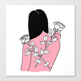 Roses on her back Canvas Print