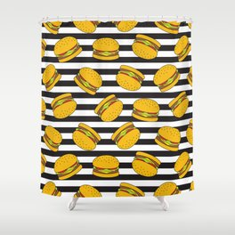 Burger Stripes By Everett Co Shower Curtain