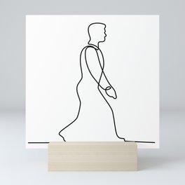 Businessman Walking Continuous Line Mini Art Print
