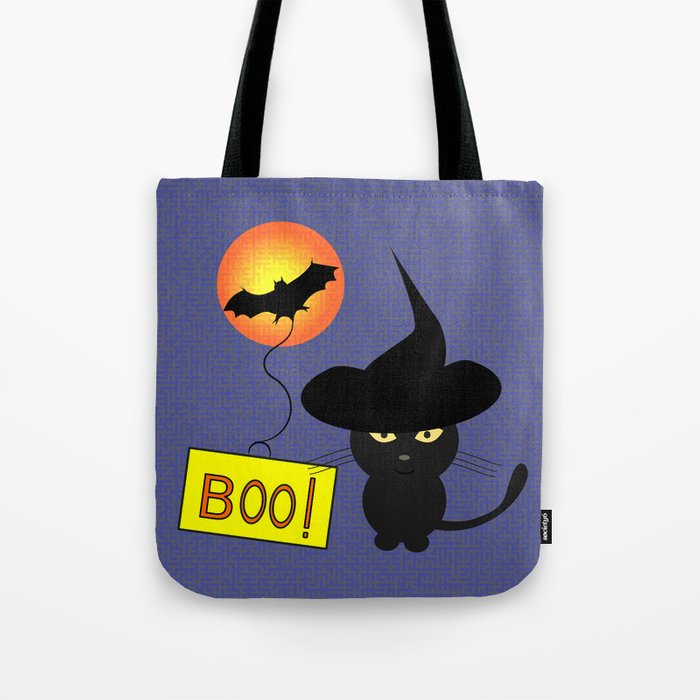 Cute cat trying to be scary for Halloween Tote Bag