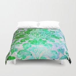 Green Damask Pattern Duvet Cover